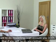 Amateur blonde in threesome on casting